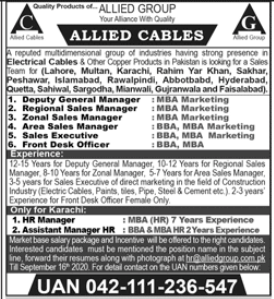 Allied Cables Sales Staff Jobs 2020
