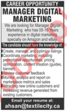 Manager Digital Marketing Jobs 2020 in Lahore