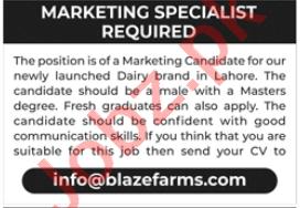 Blaze Farms Lahore Jobs 2020 for Marketing Specialist
