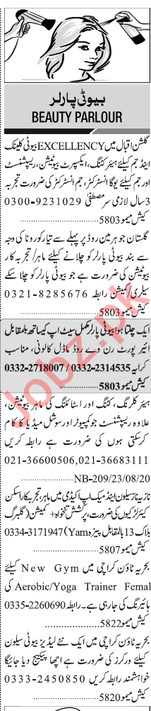 Jang Sunday Classified Ads 23 Aug 2020 for Beauty Parlor