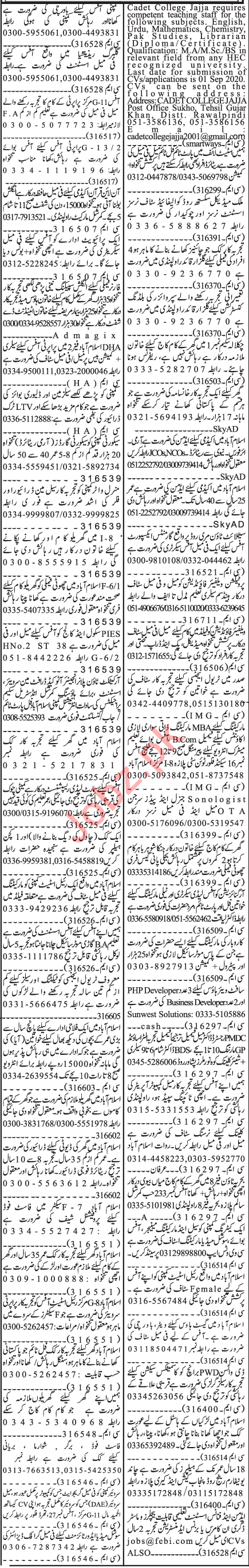 Jang Sunday Classified Ads 23 Aug 2020 for Office Staff