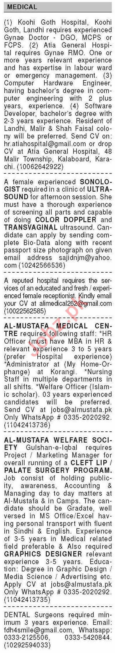 Dawn Sunday Classified Ads 23 Aug 2020 for Medical Staff