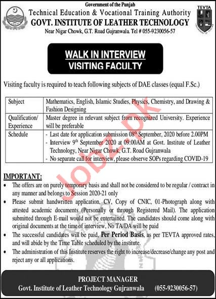 Govt Institute Of Leather Technology Gujranwala Jobs 2020 2020 Job Advertisement Pakistan