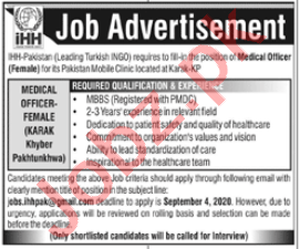 iHH Pakistan Jobs 2020 for Female Medical Officer