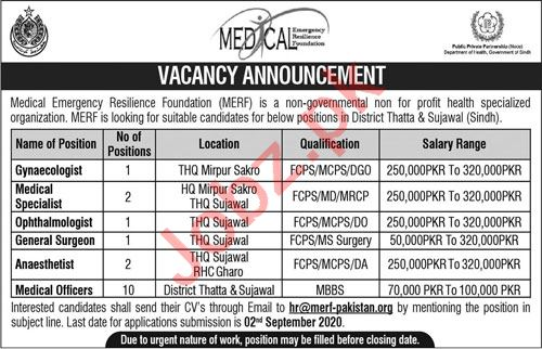 Medical Emergency Resilience Foundation MERF Jobs 2020