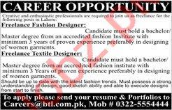 Fashion Designer Textile Designer Jobs 2020 In Lahore 2020 Job Advertisement Pakistan