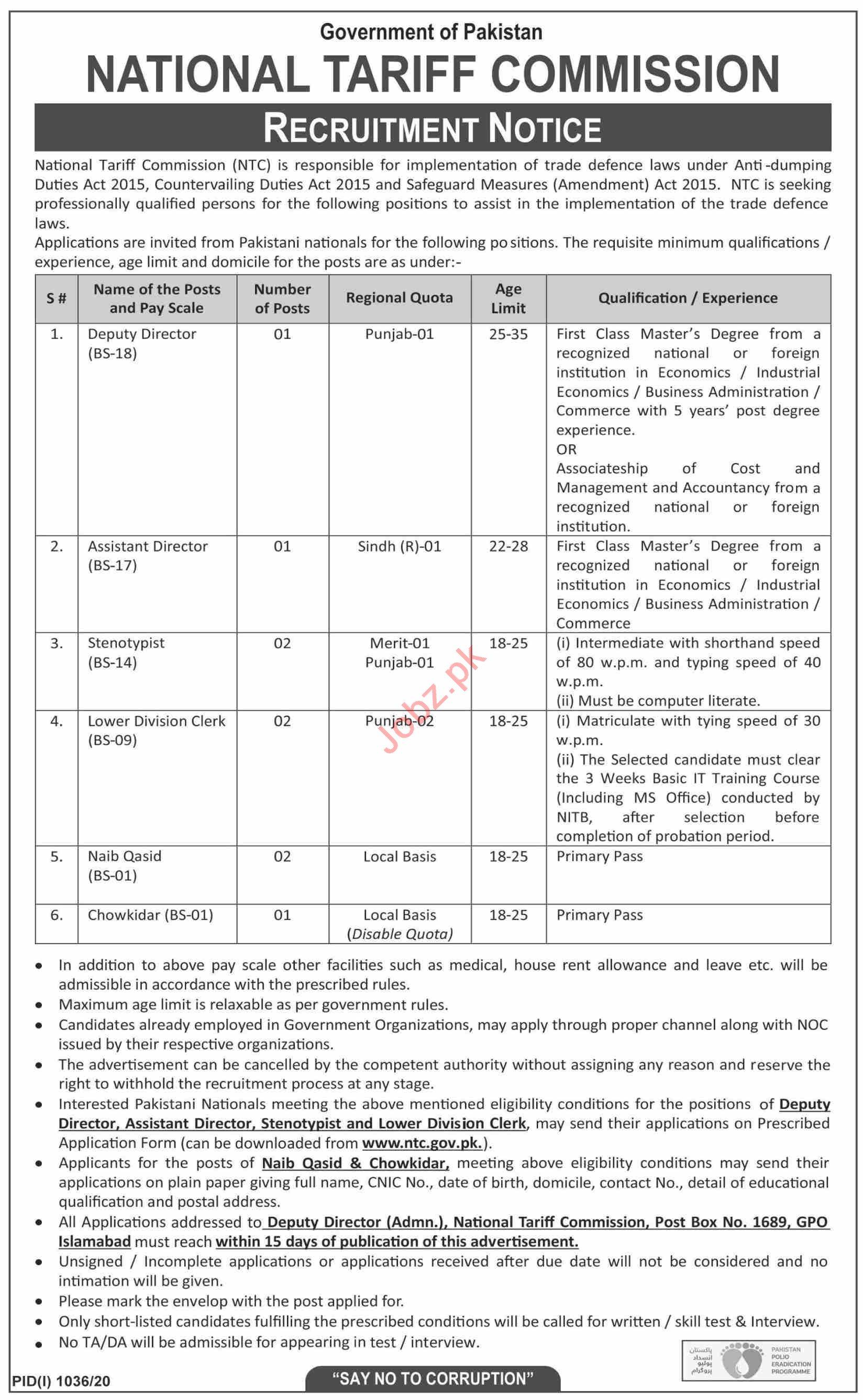 National Tariff Commission NTC Pakistan Jobs 2020