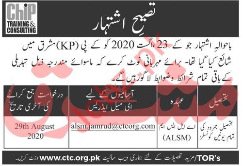 CHIP Training & Consulting CTC Peshawar Jobs 2020