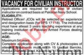 Pakistan Navy School Karachi Jobs 2020 for Instructor