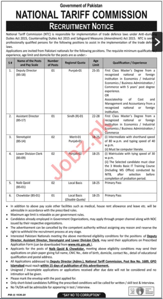 National Tariff Commission NTC Pakistan Jobs for Directors
