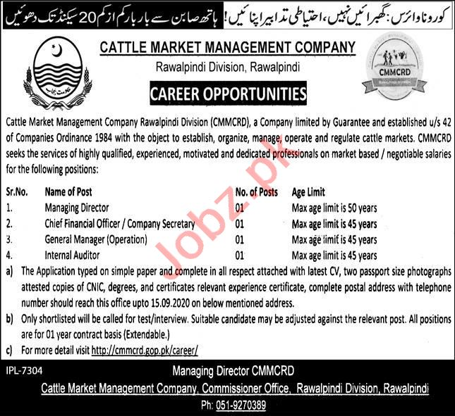 Cattle Market Management Company Rawalpindi CMMCRD Jobs