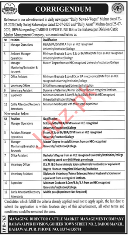 Cattle Market Management Company Bahawalpur Jobs for Manager