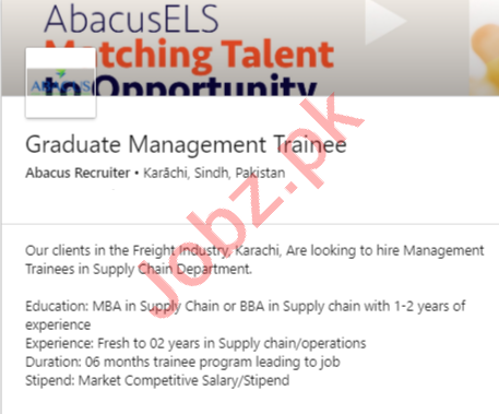 Abacus Recruiter Karachi Jobs Graduate Management Trainee