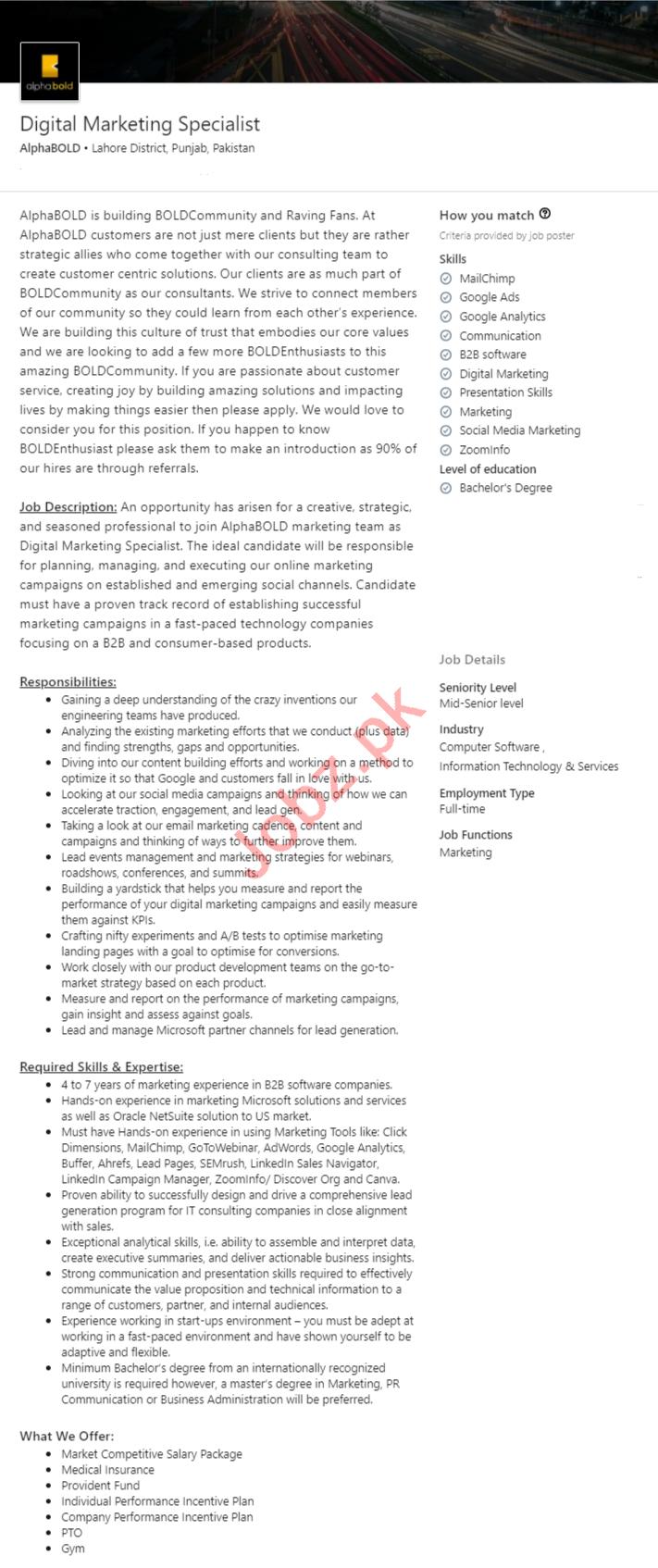 AlphaBOLD Lahore Jobs 2020 Digital Marketing Specialist