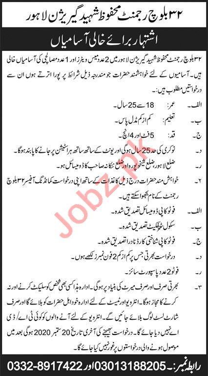 32 Baloch Regiment Mahfooz Shaheed Garrison Lahore Jobs 2020