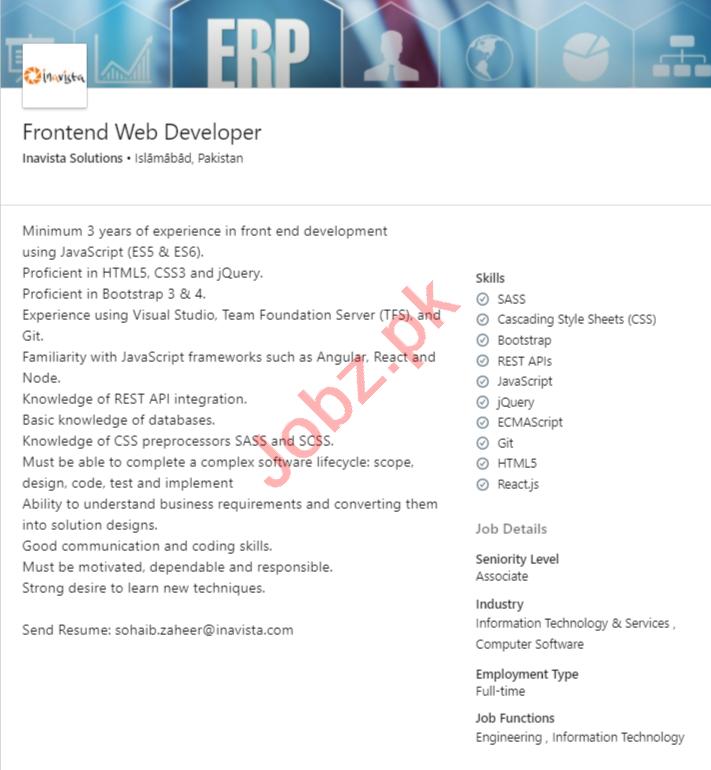 Inavista Solutions Islamabad Jobs 2020 Fronted Web Developer
