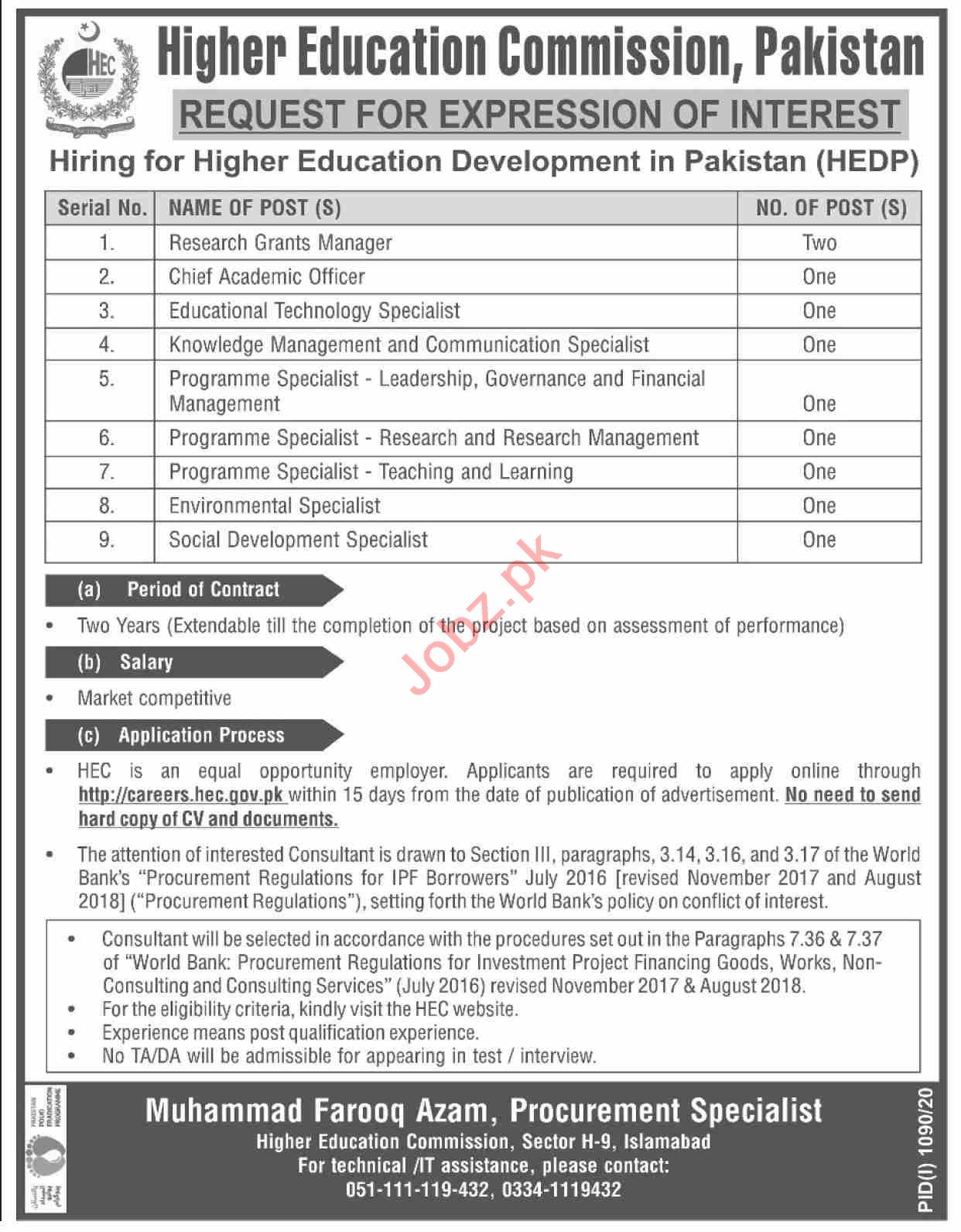 Higher Education Commission HEC Pakistan Jobs 2020