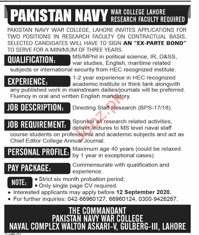 Pakistan Navy War College Lahore Research Faculty Jobs 2020