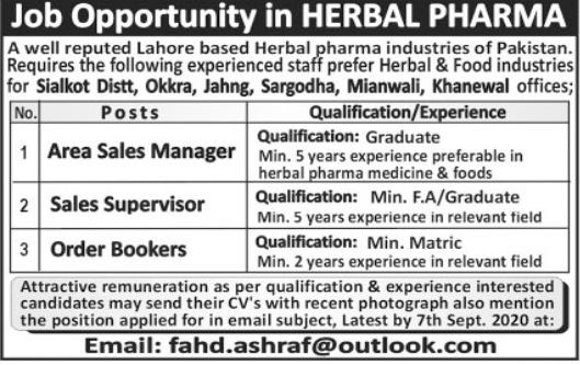 Herbal Pharma Industry Jobs 2020 For Sales Staff
