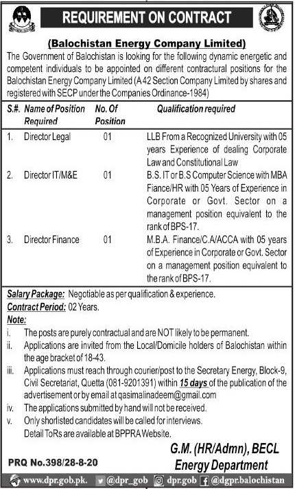 Balochistan Energy Company Limited BECL Jobs 2020
