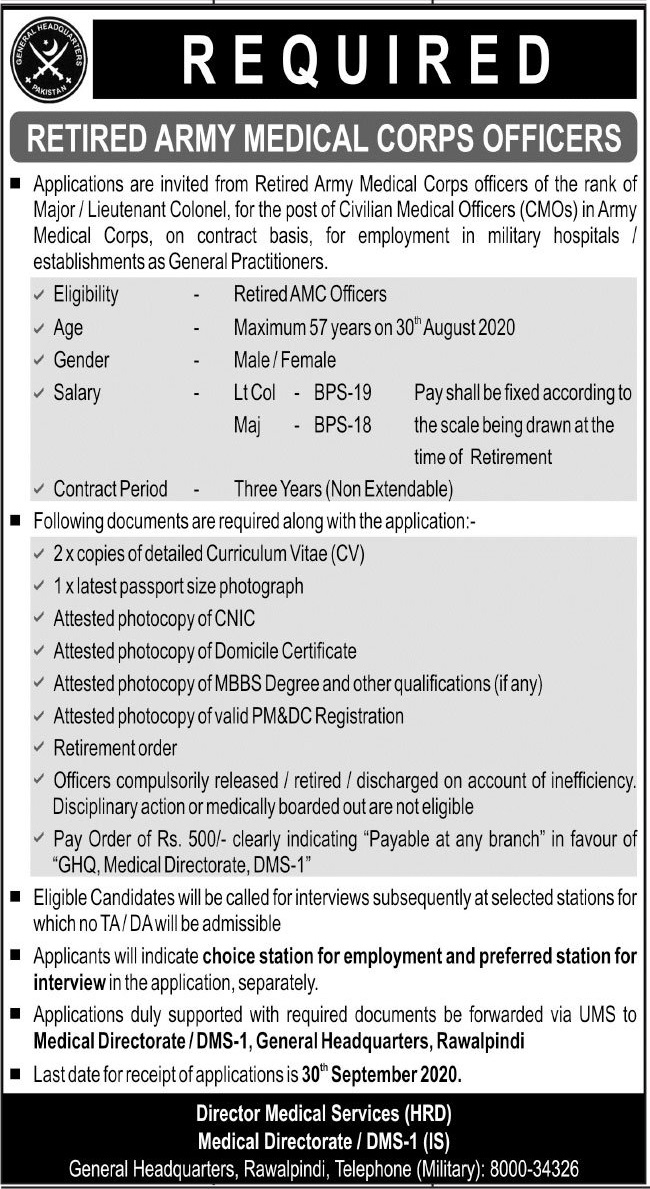 General Headquarter GHQ Jobs 2020 in Rawalpindi