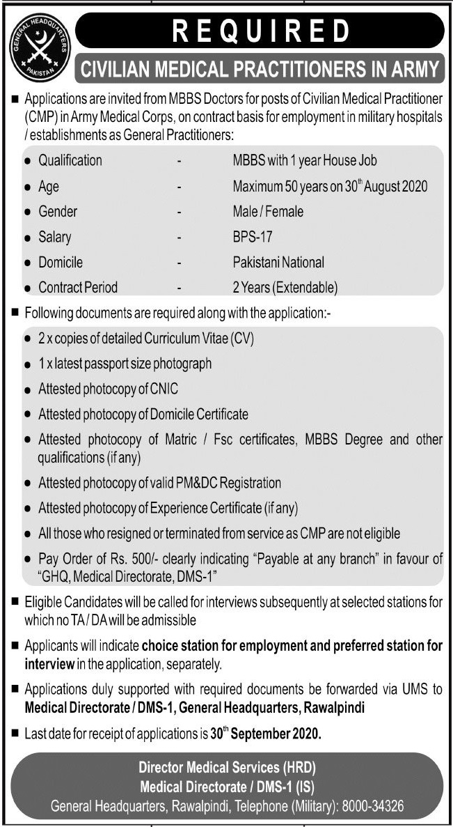 Civilian Medical Practitioners Jobs 2020 in Pakistan Army