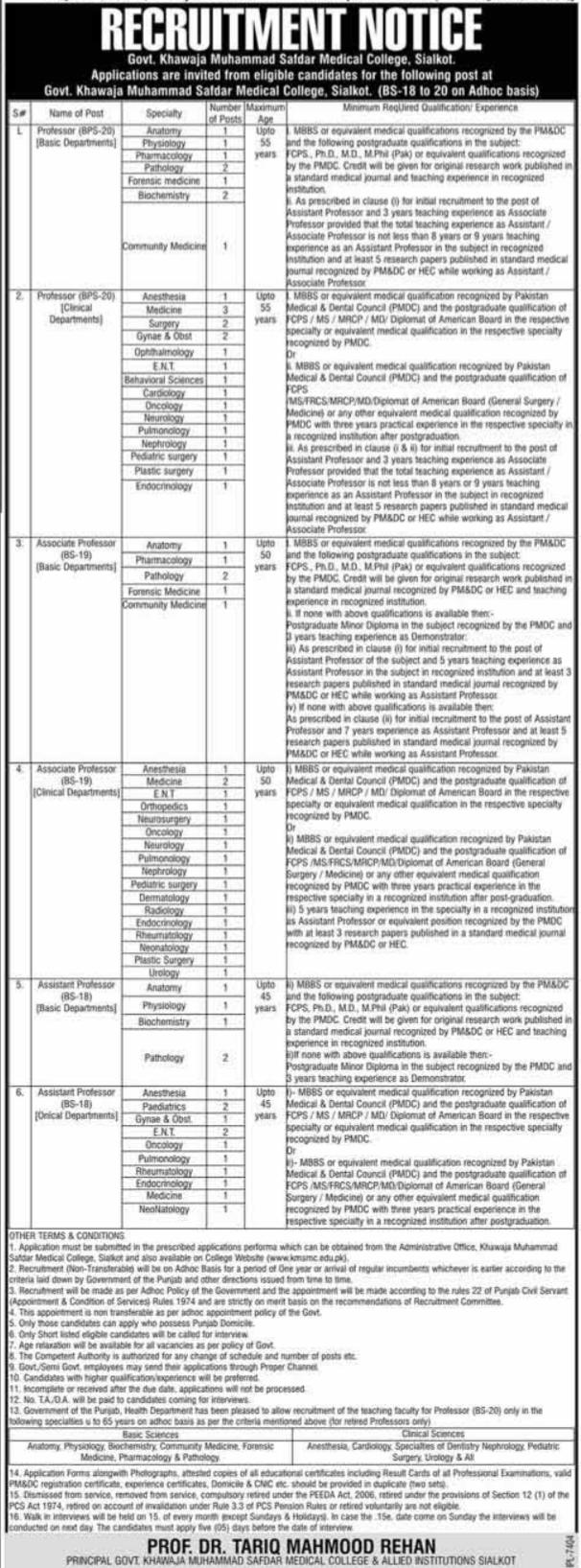 Government Khawaja Muhammad Safdar Medical College Jobs 2020