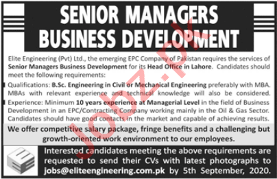Elite Engineering Lahore Jobs 2020 for Senior Manager