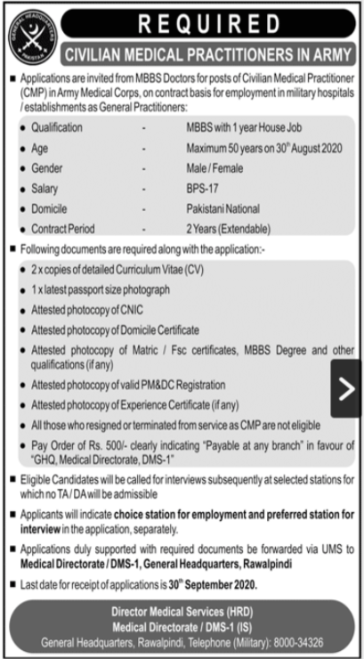Pakistan Army Jobs 2020 For Civilian Medical Practitioners
