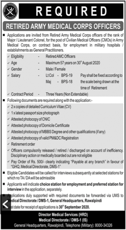 Pakistan Army Jobs 2020 For Civilian Medical Officers