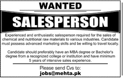 Mehta Brothers Pvt Limited Job 2020 For Salesperson