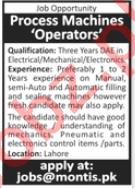 Montis Lahore Jobs 2020 for Process Machines Operators
