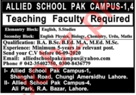 Allied School Pak Campus Lahore Jobs 2020 for Teachers