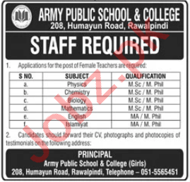 Army Public School & College APS&C Humayun Road Jobs 2020