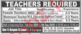 Dar e Arqam School G 9 Campus Islamabad Jobs 2020