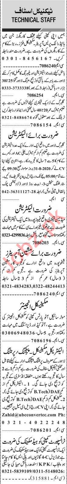 Jang Sunday Classified Ads 30 Aug 2020 for Technical Staff