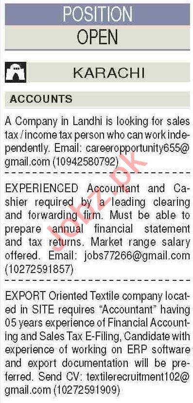 Dawn Sunday Classified Ads 30 Aug 2020 for Accounts Staff