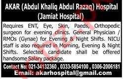ENT Specialist & Orthopedic Surgeon Jobs 2020 in Karachi