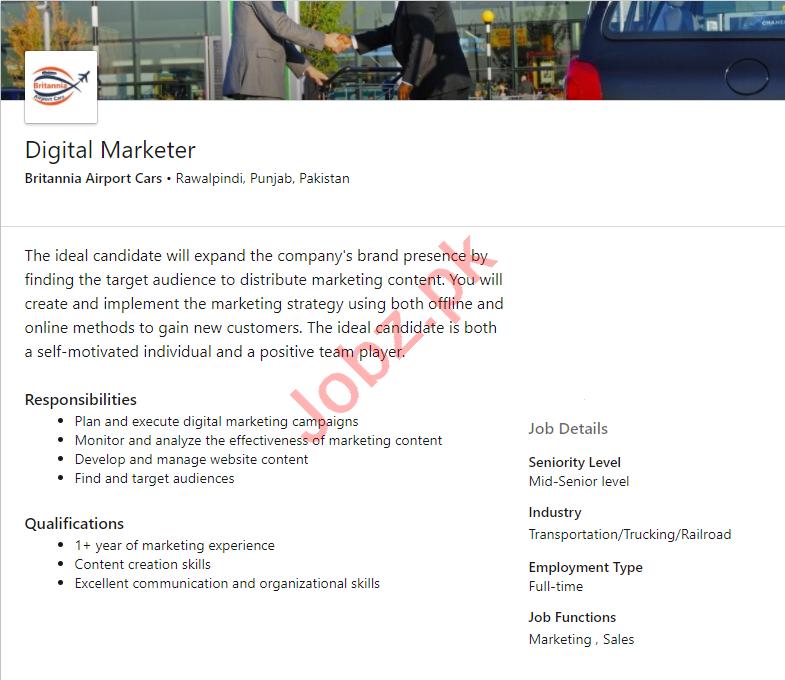 Britannia Airport Cars Rawalpindi Jobs 2020 Digital Marketer
