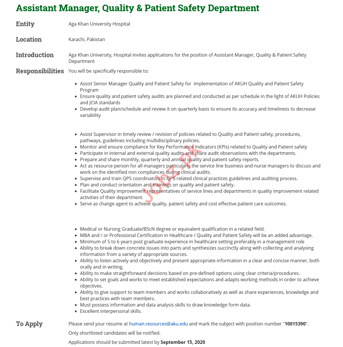Assistant Manager Jobs 2020 in Aga Khan University Hospital