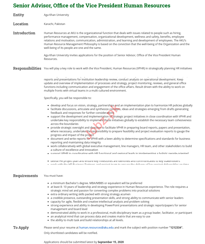 Senior Advisor Jobs 2020 in Aga Khan University AKU Karachi