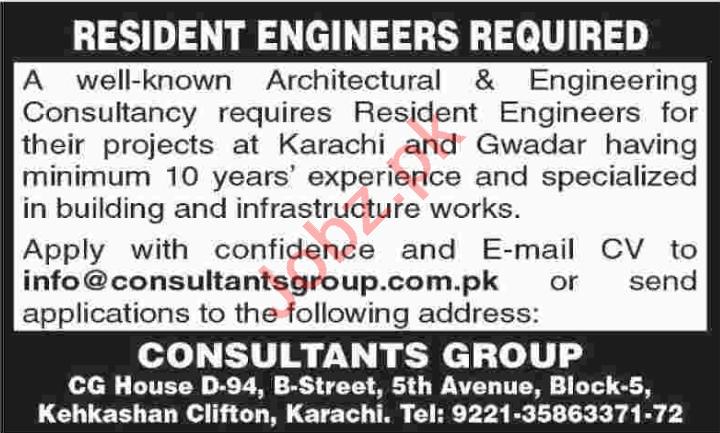Resident Engineer & Engineer Jobs 2020 in Karachi