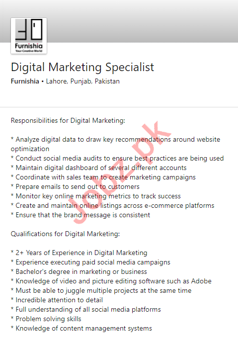 Furnishia Lahore Jobs 2020 for Digital Marketing Specialist