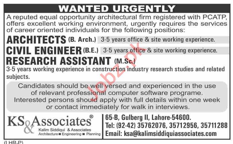 KS & Associates Lahore Jobs 2020 for Civil Engineers