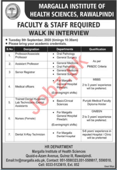 Margalla Institute of Health Sciences Rawalpindi Jobs 2020