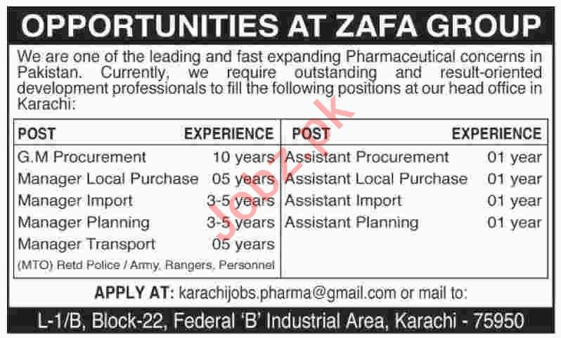 GM Procurement & Assistant Planning Jobs 2020 in Karachi