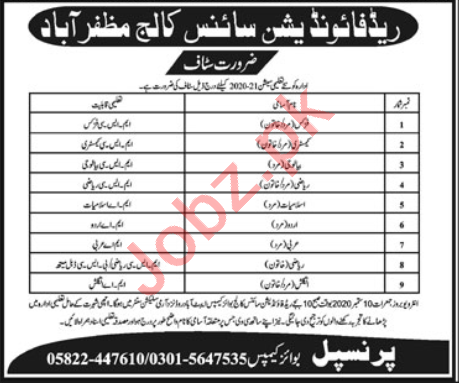 Read Foundation Science College Muzaffarabad Jobs 2020