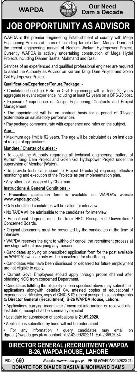 Water and Power Development Authority WAPDA Job 2020