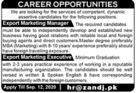 Export Marketing Manager Jobs 2020 in Rawalpindi
