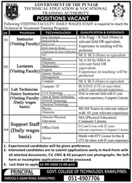 Government College of Technology Jobs 2020 in Rawalpindi